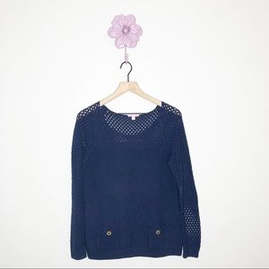 Lilly Pulitzer Navy Blue Scoop Neck Sweater